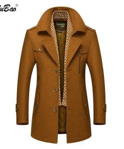 BOLUBAO Men Winter Wool Coat Men's Fashion Turn-Down Collar Warm Thick Wool Blends Woolen Pea Coat Male Trench Coat Overcoat 1