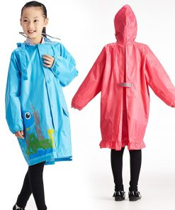 QIAN Impermeable Children Raincoat Coat Boys and Girls Kids Cute Cartoon Rain Poncho Hooded Elastic Band Waterproof Rain Jacket 2