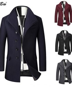BOLUBAO Wool Blend Coat Men Quality Brand Men's Casual Wild Wool Overcoat Male Trend Solid Color Wool Coat (Send Scarf) 1
