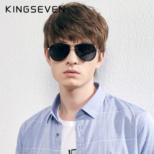 KINGSEVEN Men's Aluminum Sunglasses Photochromic With Polarized Lens Steampunk Style Fishing Driving Sun glasses Men Goggles 2