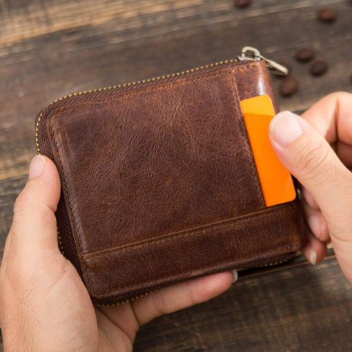 CONTACT'S 100% Genuine Leather Rfid Wallet Men Leather Coin Purse Short Male Card Holder Wallets Zipper Around Money Bag Quality 4