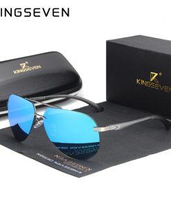 KINGSEVEN Aluminum Magnesium Polarized Rimless Lens Sunglasses For Men High Definition Retro Women Eyewear Oculos de sol 1