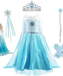 Fancy Baby Girl Princess Dresses for Girls Elsa Costume Bling Synthetic Crystal Bodice Elsa Party Dress Kids Snow Queen Cosplay 1