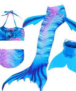 New Girls Mermaid Tail for Swimming Costume with Monofin Fin Kids Zeemeerminstaart Cola De Sirena Cauda De Sereia Cosplay 1