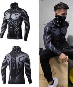 Turtleneck 2018 New Autumn Winter Fitness Men'S Turtleneck jogging Streetwear 3D Print Pullovers Compression shirts Men Tops 2