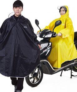 QIAN Men/Women Impermeable Raincoat Electromobile/Bicycle Sleeved Rain Poncho Thick Visable Transparent Hood Rain Gear Rain Coat 1