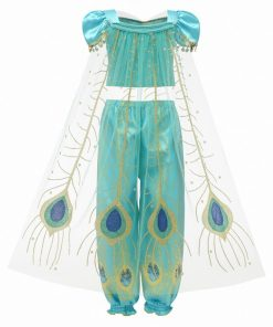 Girls Dress Up 3 Pcs Set Arabian Princess Costume Cosplay Sequined Flower Children Party Halloween Fancy Vestidos 2