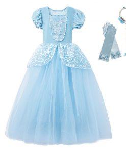 Little Girls Blue Cinderella Dress Up Children Puff Sleeve Elegant Prom Party Dress Kids Girl Birthday Princess Costume 1