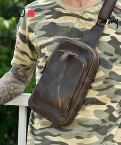 AETOO Mad Horse leather men's chest bag, handmade head layer cowhide chest bag, leather retro casual outdoor men's bag 2