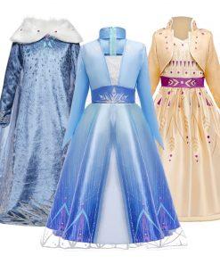 2020 Cosplay Snow Queen 2 Elsa Dresses Girls Dress Elsa Costumes Anna Princess Party Kids Vestidos Fantasia Girls Clothing 1