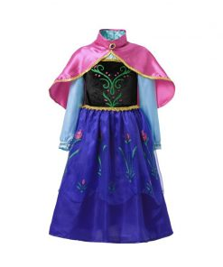 Elsa Anna Dress for Baby Girls Green Dress Cosplay Kids Clothes Floral Anna Party Embroidery Shoulderless Queen Elsa Costume 2