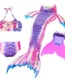 New Girls Mermaid Tail for Swimming Costume with Monofin Fin Kids Zeemeerminstaart Cola De Sirena Cauda De Sereia Cosplay 2
