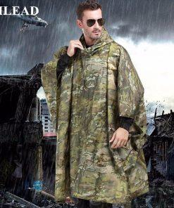VILEAD Polyester Impermeable Outdoor Raincoat Waterproof Women Men Rain Coat Poncho Cloak Durable Fishing Camping Tour Rain Gear 1