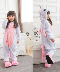 Kigurumi Unicorn Jumpsuit Kids Unicornio Pajamas Children Winter Homewear Boys hooded Flannel Onesies Girl  Panda Overall 2