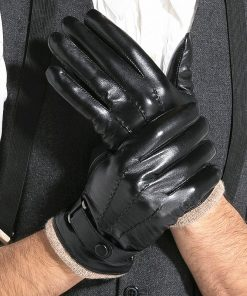 GOURS Genuine Leather Winter Gloves for Men Fashion Black Real Goatskin Wool Lining Warm Hand Driving Glove 2019 New Mittens 005 2