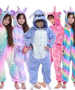 Kigurumi Unicorn Jumpsuit Kids Unicornio Pajamas Children Winter Homewear Boys hooded Flannel Onesies Girl  Panda Overall 1