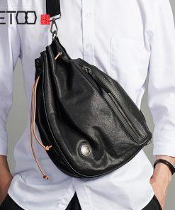 AETOO Trendy leather men's chest bag, fashion head leather one-shoulder bag, men's stiletto bag 1