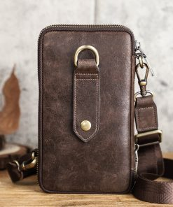 Contact's Free Engraving Men Shoulder Bag Genuine Leather Crossbody Bags Large Capacity with Phone Pocket Casual Male Waist Pack 2