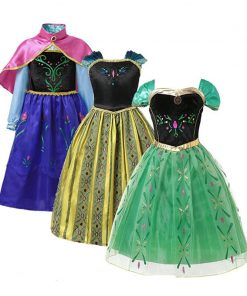 Elsa Anna Dress for Baby Girls Green Dress Cosplay Kids Clothes Floral Anna Party Embroidery Shoulderless Queen Elsa Costume 1
