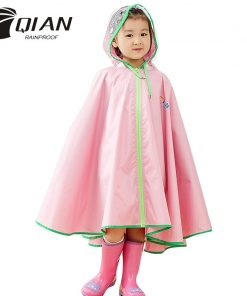 QIAN RAINPROOF Kids Rain Coat Flowering In Rain Children Rainwear PU Coating Rainsuit Transparent Big Brim Cloak Raincoat 2