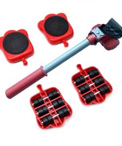 5Pcs Professional Furniture Mover Tool Set Heavy Stuffs Transport Lifter Wheeled Mover Roller with Wheel Bar Moving Hand Device 1