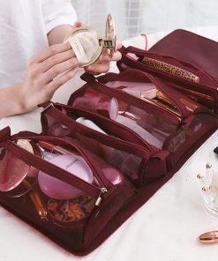 Women Cosmetic Bag Travel Organizer Foldable Hanging Nylon Wash Bag Portable Makeup Bag Multifunctional Toiletry Pouch 1