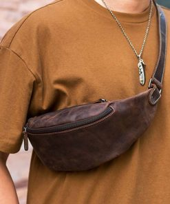 AETOO Original handmade retro first layer crazy horse cowhide zipper leather multifunctional fashion mobile phone waist bag ches 2