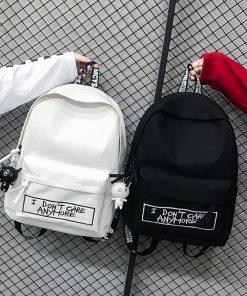 Canvas Backpack Harajuku Style Women Backpack Doll Pendant Shoulder Bag High Quality Girl School Backpack Mochila Bagpack 1