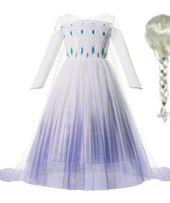 Snow Queen 2 White Elsa Dress Kids Dresses For Girls Cosplay Halloween Costume Princess Party Dress Up Hair Elsa Wig Baby Girls 1