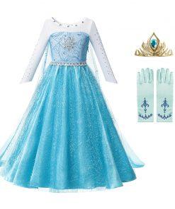 Anna Elsa 2 Girls Princess Dress Kids Clothes Girls Children Clothes Halloween Christmas Cosplay Holiday Party Dress Vestidos 1