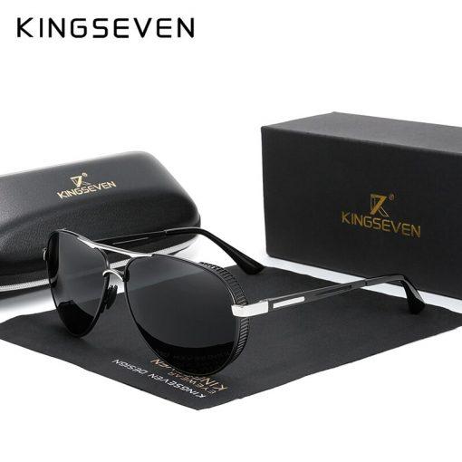 KINGSEVEN Men's Aluminum Sunglasses Photochromic With Polarized Lens Steampunk Style Fishing Driving Sun glasses Men Goggles 4