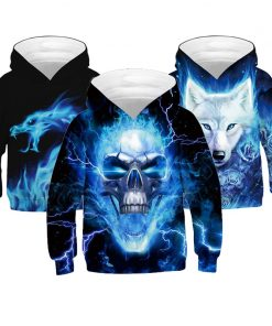 Thunderbolt Skull Boys Hoodies 3D Digital Printing Wolf Casual Kids Jacket Polyester Spring And Autumn Boys Jacket Kids Clothes 1