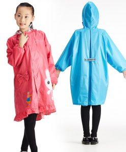 QIAN Impermeable Children Raincoat Coat Boys and Girls Kids Cute Cartoon Rain Poncho Hooded Elastic Band Waterproof Rain Jacket 1
