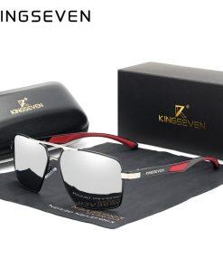 KINGSEVEN Aluminum Men's Sunglasse Polarized Lens Brand Red Design Temples Sun glasses Coating Mirror Glasses Oculos de sol 7719 1