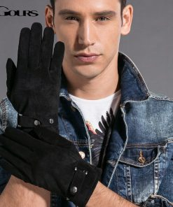 Gours Winter New Men Genuine Leather Gloves Pigskin Mittens Matte Leather 5 color Fashion Brand Driving Warm Gloves GSM001 2