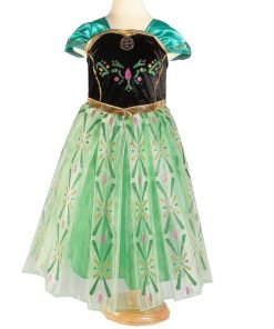 Anna Princess Dress for Baby Girls Green Dress Cosplay Kids Clothes Floral Anna Party Embroidery Shoulderless Queen Elsa Costume 2
