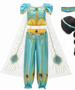 Girls Dress Up 3 Pcs Set Arabian Princess Costume Cosplay Sequined Flower Children Party Halloween Fancy Vestidos 1