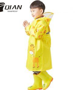 QIAN 3-10 Years Old Kids Raincoat Waterproof Boys Girls Hooded Rain Coat Cartoon Sleeves School Tour Colorful Rain Poncho Suit 1