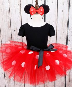 MUABABY Girl Mickey Minnie Dress UP Clothing Children Summer Princess Birthday Party Outfit with Headband Girl Bow Dots Dresses 2
