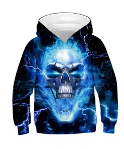 Thunderbolt Skull Boys Hoodies 3D Digital Printing Wolf Casual Kids Jacket Polyester Spring And Autumn Boys Jacket Kids Clothes 2