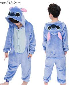 Kigurumi Unicorn Pajamas set Kids Winter Stitch Onesies Cosplay Children Pyjamas Boys Girls Flannel Pijamas Set Animal Sleepwear 1
