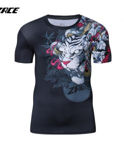 2018 Newest Compression Shirt Fitness 3D Prints Short Sleeves T Shirt Men Bodybuilding Skin Tight Crossfit Workout O-Neck Top 1