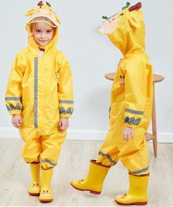 VILEAD Cute Animal Baby Jumpsuits Rain Coat Waterproof Polyester Raincoat Children Windproof Poncho for Kindergarten Student 2