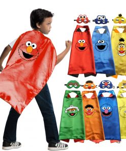 Costumes Big Bird Elmo Oscar Cosplay Superhero Style Capes with Masks for Kids Birthday Cosplay Costume 1