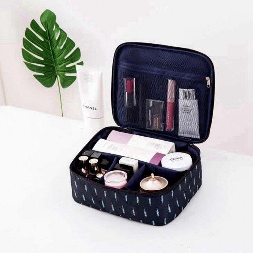 Women Cartoon Flamingo Cosmetic Bag Function Makeup Bag Travel Trunk Zipper Make Up Organizer Storage Pouch Toiletry Kit Box 4